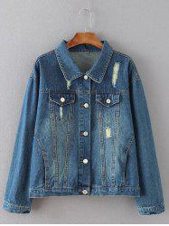 Flap Pockets Frayed Ripped Jean Jacket - BLUE