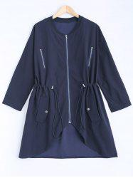 Stand Neck Long Sleeve Plus Size Drawstring Coat - CADETBLUE