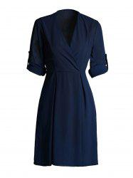 Hemming Sleeves Tied Belt Surplice Dress - PURPLISH BLUE 3XL