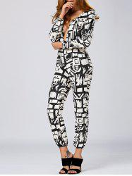 Plunging Neck Geometric Print Jumpsuit -