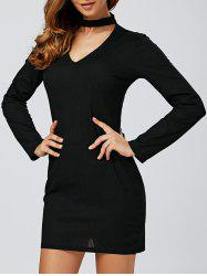 Long Sleeve Low Cut Choker Bodycon Dress - BLACK XL