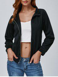 Zip Up Letter Print Jacket -