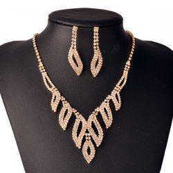 Rhinestone Hollowed Leaf Jewelry Set - GOLDEN