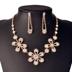 Rhinestone Flower Shiny Jewelry Set - GOLDEN