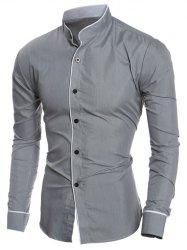 Edging Design Long Sleeve Grandad Chinese Collar Shirt -