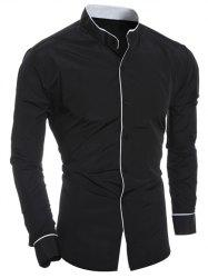 Edging Design Long Sleeve Grandad Chinese Collar Shirt - BLACK
