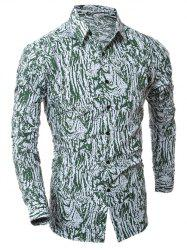 Camouflage Motif Collier Turn-Down Shirt -