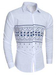 Star and Geometric Pattern Turn-Down Collar Shirt