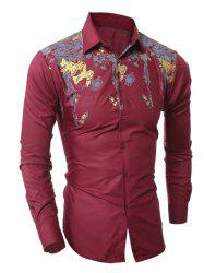 Golden Floral Pattern Turn-Down Collar Shirt - WINE RED