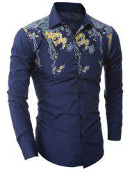 Golden Floral Pattern Turn-Down Collar Shirt - CADETBLUE