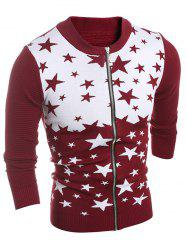 Color Block Star Pattern Zip-Up Cardigan - WINE RED 2XL