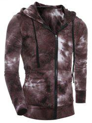 Hooded Ombre Bandhnu Zip-Up Hoodie - COFFEE