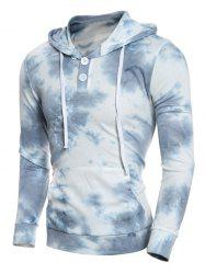 Hooded Ombre Bandhnu Button Embellished Hoodie - BLUE