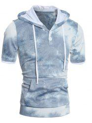 Hooded Ombre Short Sleeve Button Embellished Hoodie - BLUE 2XL