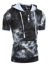 Hooded Ombre Short Sleeve Button Embellished Hoodie