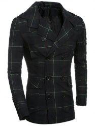 Double Breasted Turndown Collar Checked Coat - CHECKED 2XL