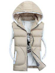 Hooded Thicken Zip-Up Down Waistcoat - OFF-WHITE M