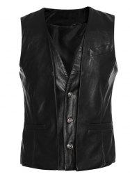 Faux Twinset V-Neck Single-Breasted PU-Leather Wasitcoat -