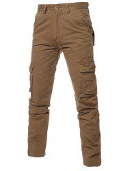 Simple Zipper Fly Pockets Cargo Pants
