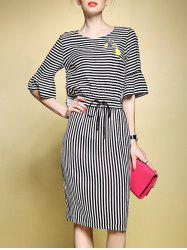 Stripe Bell Sleeve Drawstring Midi Dress