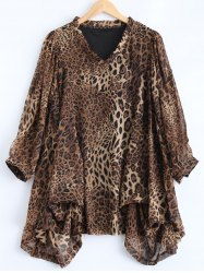 Plus Size Cheetah Printed Asymmetric Blouse