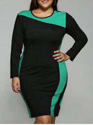 Color Block Plus Size Long Sleeve Dress - GREEN 6XL