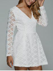 Plunging Neck Long Sleeve Lace Skater Dress