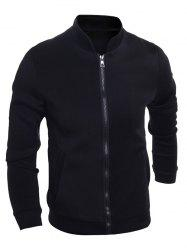 Brief Stand Collar Zip Up Jacket -