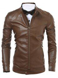 Slim Fit Zip Up Faux Leather Jacket