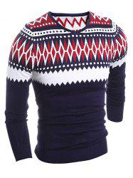 Slim Fit V-Neck Tribal Sweater -