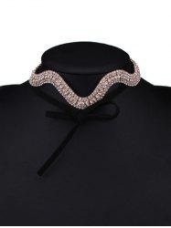 Wavy Tiered Rhinestone Alloy Choker Necklace