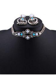 Burnished Faux Stone Beaded Necklace Set - TURQUOISE