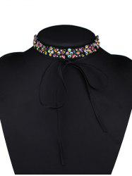Adjustable Rhinestone Bowknot Choker Necklace