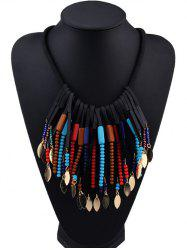 Beaded Alloy Leaf Tassel Fake Collar Necklace