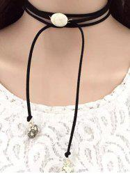 Layered Faux Turquoise Tie Choker Necklace - BLACK