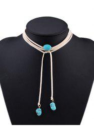 Layered Faux Turquoise Tie Choker Necklace
