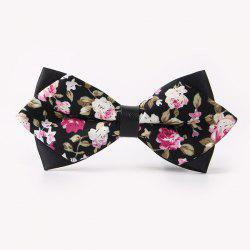 Banquet Rose Print Sharp-Angled Double-Deck Bow Tie -