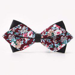 Banquet Flower Sharp-Angled Double-Deck Bow Tie - WINE RED