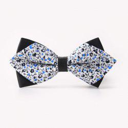 Banquet Tiny Flower Printed Sharp-Angled Double-Deck Bow Tie -