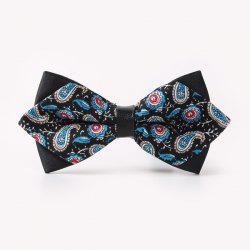 Banquet Paisley Printed Sharp-Angled Double-Deck Bow Tie - BLACK