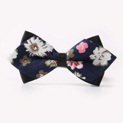 Banquet Small Flowers Sharp-Angled Double-Deck Bow Tie - CADETBLUE