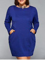 Long Sleeve Plus Szie Dress with Pocket -