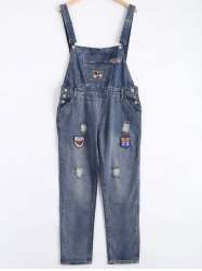 Patch Design Broken Hole Denim Overalls - BLUE 4XL