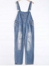 Pocket Design Broken Hole Denim Overalls - BLUE