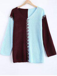 Criss Cross Contrast Color Ribbed Sweater -