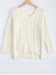 Cable-Knit Criss Cross Textured Sweater -