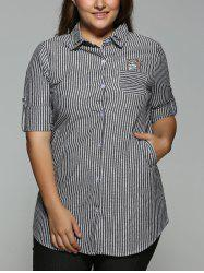 Plus Size Striped Kitten Embroidered Shirt - BLACK 3XL