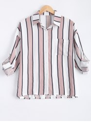 Plus Size Striped Pocket Design Shirt
