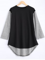 Plus Size Pinstriped Spliced Asymmetrical Blouse