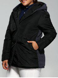Plus Size Double-Breasted Knit-Insert Hooded Coat - BLACK